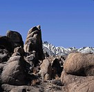Rocks of the Alabama Hills of Sierra Nevada with Mount Whitney in background, California, USA