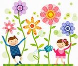 children watering flowers