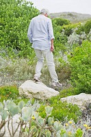 Senior man walking in a garden