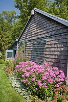 19th century storage shed and garden, Quebec, Canada