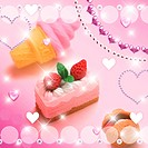 Desserts, hearts, circles and sequins, CG