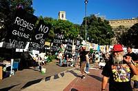 15M protest camp, Plaça Catalunya, Barcelona, Catalonia, Spain