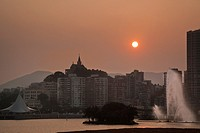 China, Macau, sunset view of Penha Hill from Baia da Praia