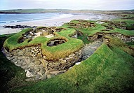 Skara Brae stone age village 3100 BC  Orkney, Scotland  Excavated from sand dune showing individual houses and connecting alleys
