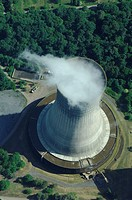 Aerial view water steam cooling tower of coal electrical power station Emile Huchet, Carling Saint Avold, Moselle, Lorraine, France
