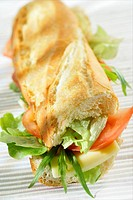 Emmental cheese and raw vegetable sandwich