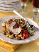 Rolled veal with dried tomatoes,traditional mustard and Grenaille potatoes