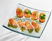 Small smoked salmon and Fromage frais appertizers