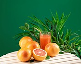 Fresh pink grapefruit juice