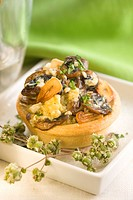 Scrambled eggs and mushroom tartlet