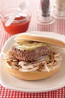 Hambuger,Salers cheese and onion bagel burger