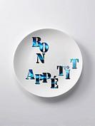 Bon appétit written on a plate