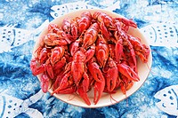 Dish of cooked crayfish