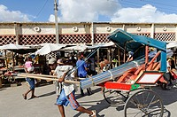 Rickshaw. The market. Toliara also known as Tuléar is the capital of the Atsimo-Andrefana region. Madagascar. Indian Ocean.