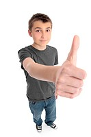 Boy big hand thumbs up