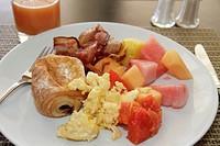 Dominican Republic, Santo Domingo, Ciudad Colonial, Mercure Comercial, hotel, business, hospitality, breakfast, food, plate, fruit, scrambled eggs, ba...