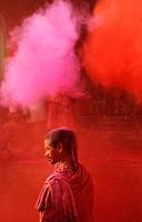 India, Uttar Pradesh, Holi festival, Colour and spring festival celebrating the love between Krishna and Radha
