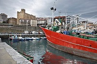 Fishing boats in the port of Getaria, Guipuzcoa, Basque Country, Spain