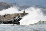 Waves on the breakwater of Zumaia, Zumaya, Zumaia, Guipuzcoa, Gipuzkoa, Euskadi, Basque Country, Spain
