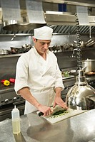 Chef preparing food in kitchen