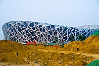 Beijing, CHINA - Modern Architecture, The National Stadium, 'The Bird's Nest', (Architect Credit: Herzog &amp; De Meuron)