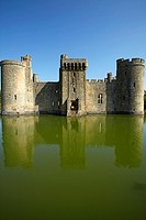 Bodiam Castle 1385 reflected in the surrounding moat, England, United Kingdom