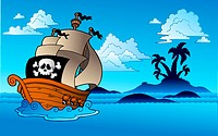 Pirate ship with island silhouette _ color illustration.