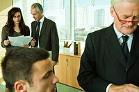 Executives working with young associates in office