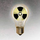 Light bulb with radioactive warning sign