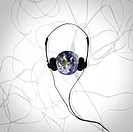 Earth wearing headphones