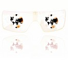 Illustrated glasses with planet earth graphic