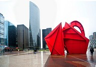 France, Paris, la defence, business, finacial district, sculpture, Calder, red, towers, rain, EDF-GDF tower