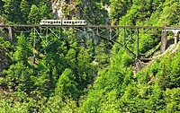centovalli trainset on ruinacci bridge near village of camedo - centovalli valley - canton of ticino - switzerland