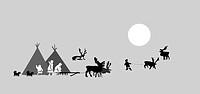 vector drawing reindeer breeder