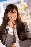 Close up portrait of businesswoman smiling
