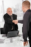 Senior executive shaking hands with businessman