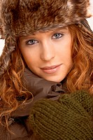 Attractive female in winter clothes