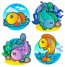 Various freshwater fishes 1 _ color illustration.