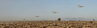 Five propeller planes starting consecutively, California, USA
