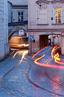 architecture, blurred, building, capital, car, city, cityscape, Czech republic, dusk, electric, Europe, light, mala strana, motion, old, outdoor, pass...