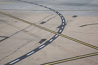 Markings on airport runway, Melbourne, Victoria, Australia