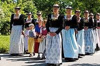 Germany, Upper Bavaria, Gmund am Tegernsee, Women and girls at feast of Corpus Christi procession