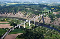 Europe, Germany, Rhineland_Palatinate, View of motorway bridge over moselle