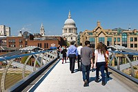 St Paul´s Cathedral and City of London School from London Millennium Footbridge, pedestrian bridge over Thames, London, England, UK