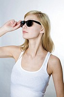 young blonde woman with sunglasses