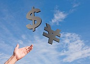 Dollar sign and yen sign