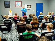 Science class, Challenger Center, Olean, New York, USA