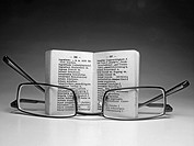 Spectacles near an opened dictionary