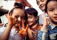 Cute children at Old city of Kashgar, Xinjiang