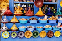 Morocco, Essaouira, Ceramics and Spices for sale in the Medina